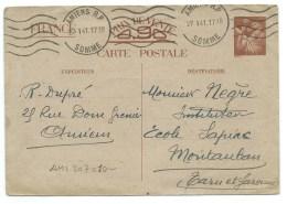 CARTE POSTALE / AMIENS R.P. SOMME 1941 / POUR MONTAUBAN - Entiers Postaux
