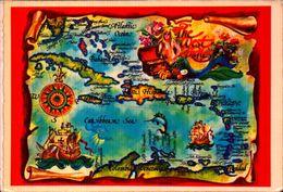 PUERTO RICO, MAPA WEST INDIES, GREETINS FROM DE SUNNY CARIBBEAN  [12815] - Puerto Rico