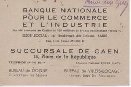 Carte Banque Nationale Pour Le Commerce Et L' Industrie Succursale De Caen  (14) Bureau Dozulé Et Villers Bocage - Cartes De Visite