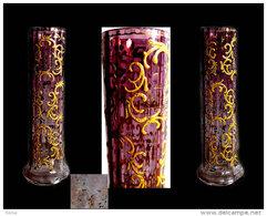 Ancien Vase De Bohème Doré à L'or De Moser / Old Bohemian Glass Vase Moser - Verre & Cristal