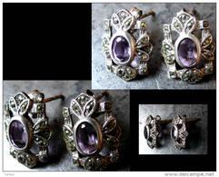 Anciennes Boucles D'oreille Hongroises Art Déco / Old Hungarian Art Déco Amethyst And Silver Earrings - Boucles D'oreilles