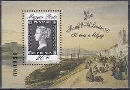 Ungarn Hungary 1990 Philatelie 150 Jahre Briefmarken STAMP WORLD London Black Penny, Bl. 209 ** - Hongrie