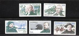 Sweden 1973 Explorers, Thunberg, Sparman, Nordenskiold, Andrée, Hedin, Mi 810-814 MNH(**) - Schweden