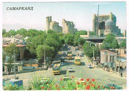 V1267 Samarkand Samarcanda - Tashkent Street - Bibi Khanym Mosque - Auto Cars Voitures / Viaggiata 1989 - Uzbekistan