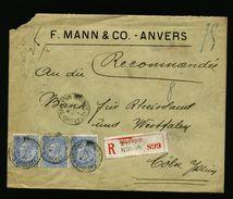A5061) Belgien Belgium R-Brief Anvers 1.2.1902 MeF Nach Cöln / Germany - 1893-1900 Schmaler Bart