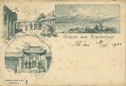 China, KIAUTSCHOU 膠州 TSINGTAU QINGDAO, Multiview 1900 Hirsbrunner & Co. Postcard - Chine