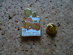 Pin's  ** Credit Agricole Valence ,vallée De La Drôme ,diois  ** Banque , Abricot Peche , Chevre - Banks