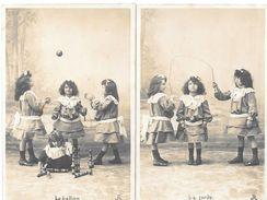 2 Cartes-photo  Pionnières : JEUX D'ENFANT - La CORDE A SAUTER - LE BALLON, LES QUILLES - Voyagé En 1903 Editeur R.P.I. - Scènes & Paysages