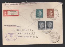 DR Deutsche Dienstpost Ukraine Einschreiben MiF 1943 Proskurow Nach Leipzig K695 - Dienstpost