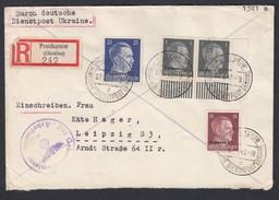 DR Deutsche Dienstpost Ukraine Einschreiben MiF Unterrandstück 1943 Proskurow Nach Leipzig K697 - Dienstpost