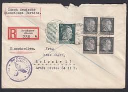 DR Deutsche Dienstpost Ukraine Einschreiben MiF Randstück Und Viererblock 1942 Proskurow Nach Leipzig K699 - Dienstpost