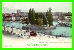GENEVE, SUISSE - ILE  J. J. ROUSSEAU ET PONT DU MONT-BLANC - C. P. N. - ANIMÉE - ENDOS NON DIVISÉ - - GE Genève