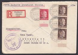 DR Deutsche Dienstpost Ukraine Einschreiben MiF Eckrandstücke 1943 Proskurow Nach Leipzig K702 - Dienstpost