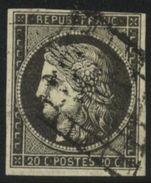 France 1849 Yv. N°3a - 10c Noir S. Blanc Cérès - Oblitéré - 1849-1850 Cérès