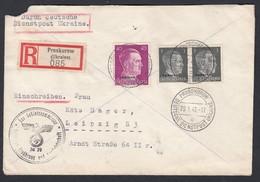 DR Deutsche Dienstpost Ukraine Einschreiben MiF 1943 Proskurow Nach Leipzig K703 - Dienstpost