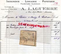 02- SOISSONS- RARE FACTURE A. LAGUERRE- IMPRIMERIE LIBRAIRIE PAPETERIE- 5 RUE SAINT MARTIN- 1936 - Imprimerie & Papeterie