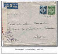 Palestine Israel Lettre Acre 1951 Censure Censored Cover Carta Belege - Palestine