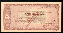 India Rs.50 Punjab National Bank Traveller's Cheques ' SPECIMEN ' RARE # 5823A - Cheques & Traveler's Cheques
