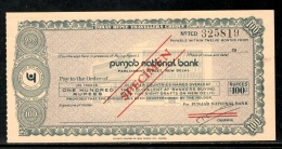 India Rs.100 Punjab National Bank Traveller's Cheques ' SPECIMEN ' RARE # 5823B - Cheques & Traveler's Cheques