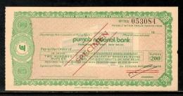 India Rs.200 Punjab National Bank Traveller's Cheques ' SPECIMEN ' RARE # 5823C - Cheques & Traveler's Cheques