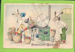 Litho-AK Fröhliche Ostern - Hasen Bei Der Herstellung Bunter Eier, Gelaufen Ca. 1930er Jahre - Pâques