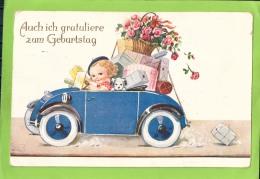 """Künstler-AK Von John Wills - Auto Voller Geschenke - """"Auch Ich Gratuliere Zum Geburtstag"""" - Gelaufen Am 27.9.1934 - Verjaardag"""