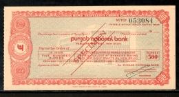 India Rs.500 Punjab National Bank Traveller's Cheques ' SPECIMEN ' RARE # 5823D - Cheques & Traveler's Cheques