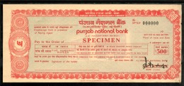 India Rs.500 Punjab National Bank Traveller's Cheques ' SPECIMEN ' RARE # 6014D - Cheques En Traveller's Cheques