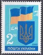 Ukraine 1992 Geschichte Unabhängigkeit Independence Fahnen Flaggen Flags Wappen Arms, Mi. 86 ** - Ukraine