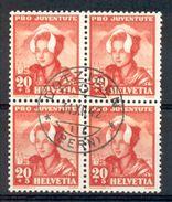 LIQUIDATION TOTALE :1943- ZU 103 - Mi 414 - Yv 382 OBLITERES En BLOC DE 4 - Pro Juventute