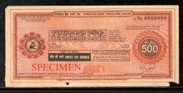 India Rs.500 Syndicate Bank Traveller's Cheques ' SPECIMEN ' RARE # 16132A - Assegni & Assegni Di Viaggio