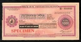 India Rs.1000 Syndicate Bank Traveller's Cheques ' SPECIMEN ' RARE # 16132C - Assegni & Assegni Di Viaggio