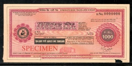 India Rs.1000 Syndicate Bank Traveller's Cheques ' SPECIMEN ' RARE # 16132D - Cheques & Traveler's Cheques
