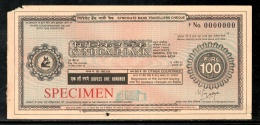 India Rs.100 Syndicate Bank Traveller's Cheques ' SPECIMEN ' RARE # 16132B - Cheques & Traveler's Cheques