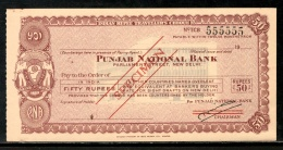 India Rs.50 Punjab National Bank Traveller's Cheques ' SPECIMEN ' RARE # 16221A - Cheques & Traveler's Cheques
