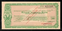 India Rs.200 Punjab National Bank Traveller's Cheques ' SPECIMEN ' RARE # 16221C - Assegni & Assegni Di Viaggio