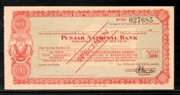 India Rs.500 Punjab National Bank Traveller's Cheques ' SPECIMEN ' RARE # 16221D - Cheques & Traveler's Cheques