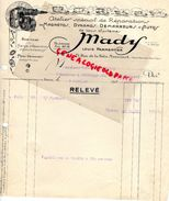 75- PARIS- RARE FACTURE MADY-AUTOMOBILE MAGNETOS-DYNAMOS-DEMARREURS AUTO-LOUIS PARMENTIER-71 RUE FOLIE MERICOURT-1926 - Cars