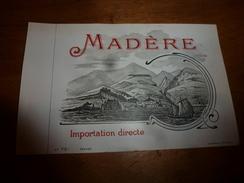 1920 ? Spécimen étiquette De Vin De MADÉRE N° 731 ,déposé, Imp. G.Jouneau  3 Rue Papin à Paris - Bateaux à Voile & Voiliers