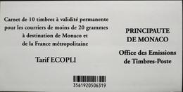 MONACO 2012 - Le N° 2826 Carnet De 10 Timbres NEUFS** Validité Permanente Au Tarif Ecopli - Parfait Etat - Monaco
