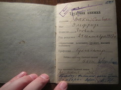 WWII 1945 RUSSIA ESTONIA WORK-BOOK (RECORD Of SERVICE), DOCUMENT - Documents