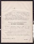 BEERSEL SCHAERBEEK Baronne Marie-Elisabeth De ROEST D'ALKEMADE 82 Ans 1871 Famille Du SART De MOLEMBAIX D'OLMEN - Esquela