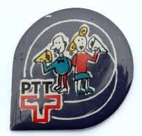 Pin's PTT SUISSE - Le Logo Et La Croix - Couple Communicant à L'ancienne - PTTExpo - G1090 - Mail Services