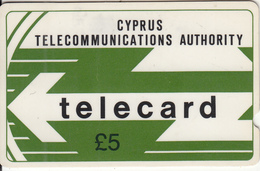 CYPRUS(GPT) - CYTA Logo 5 Pounds(deep Notch), CN(at Top) : 10CYPB(medium), Tirage %40000, Used - Cyprus