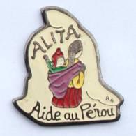 Pin's ALITA - Aide Au Pérou - Péruvienne Et Son Bébé - Bonnet Péruvien - G1111 - Associations