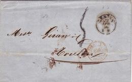2031# LETTRE Obl GENOVA 1856 GENES ITALIE Pour TOULON VAR Via SARDAIGNE 2 DRAGUIGNAN 2 ITALIA - Marcophilie (Lettres)
