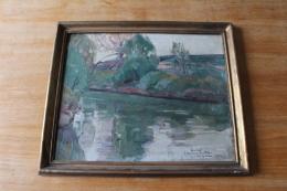 Tableau Beau Paysage De Riviere  Signé 1933  Et Dedicace - Oils