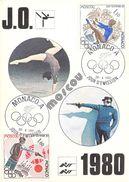 MONACO CARTE MAXIMUM  NUM.YVERT  1218/1220 SPORT JEUX OLYMPIQURS 1980 - Maximumkarten (MC)