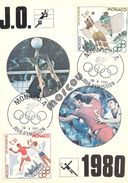MONACO CARTE MAXIMUM  NUM.YVERT  1219/1221 SPORT JEUX OLYMPIQURS 1980 - Maximumkarten (MC)