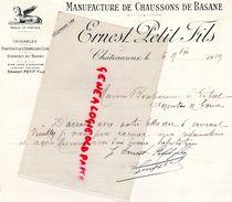 36 -CHATEAUROUX-FACTURE LETTRE MANUSCRITE-MANUFACTURE CHAUSSONS DE BASANE-ERNEST PETIT FILS- 1909- PANTOUFLES GALOCHES - France